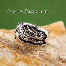 แหวนมังกร แหวนเงินแกะสลักมังกรพันนิ้ว แหวนทรงแหวนเกลี้ยง แหวนเงินแท้