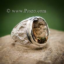 แหวนครุฑ แหวนผู้ชายเงินแท้ แหวนพญาครุฑ พลอยสโมกกี้ควอตซ์ แหวนผู้ชาย