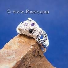 แหวนเสือดาว แหวนเสือดาวคาบห่วง ฝังพลอยสีม่วง และ นิลแท้ แหวนเงินแท้