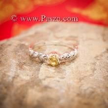 แหวนบุษราคัม แหวนพลอยสีเหลือง เม็ดเล็ก แหวนบิดเกลียว แหวนขนาดเล็ก