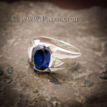 แหวนแห่งแสง แหวนพลอยไพลิน แหวนผู้ชายเงินแท้ #2