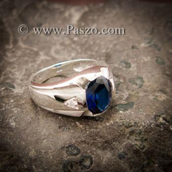 แหวนแห่งแสง แหวนพลอยไพลิน แหวนผู้ชายเงินแท้ #3