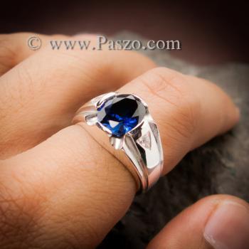แหวนแห่งแสง แหวนพลอยไพลิน แหวนผู้ชายเงินแท้ #4