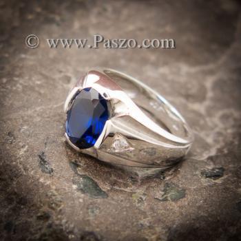 แหวนแห่งแสง แหวนพลอยไพลิน แหวนผู้ชายเงินแท้ #5