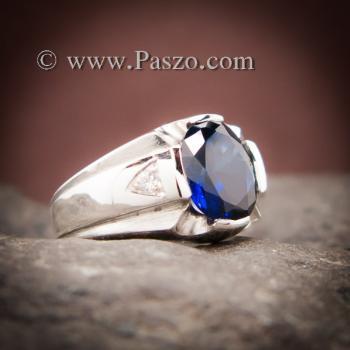 แหวนแห่งแสง แหวนพลอยไพลิน แหวนผู้ชายเงินแท้ #6