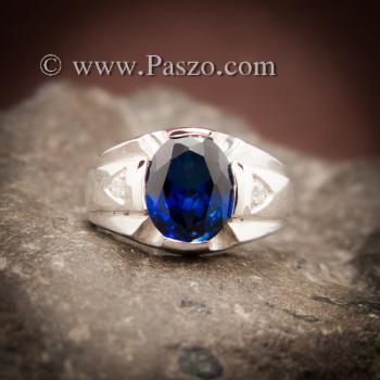 แหวนแห่งแสง แหวนพลอยไพลิน แหวนผู้ชายเงินแท้ #7