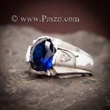 แหวนแห่งแสง แหวนพลอยไพลิน แหวนผู้ชายเงินแท้ พลอยไพลิน พลอยสีน้ำเงิน แหวนผู้ชาย