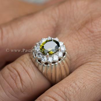 แหวนพลอยเขียวส่อง แหวนผู้ชายเงินแท้ พลอยสีเขียวมะกอก #9