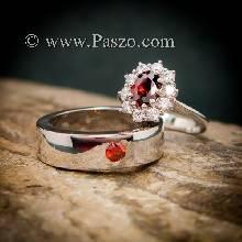 แหวนคู่โกเมน ชุดแหวนคู่ พลอยสีแดงก่ำโกเมน แหวนเงินแท้