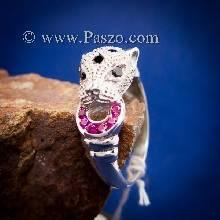 แหวนเสือดาว แหวนเสือดาวฝังนิล คาบห่วง ทับทิม พลอยสีแดง