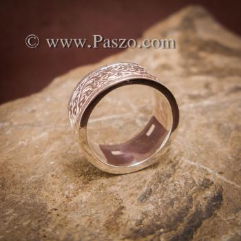 แหวนแกะลายรอบวง หน้ากว้าง10มิล แหวนเงินแท้ #2