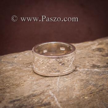 แหวนแกะลายรอบวง หน้ากว้าง10มิล แหวนเงินแท้ #4