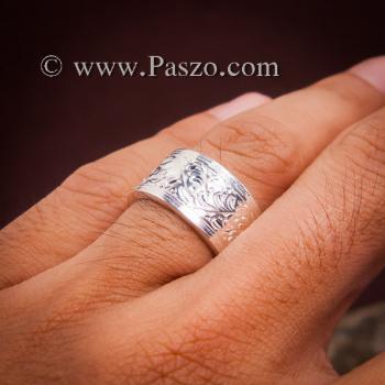 แหวนแกะลายรอบวง หน้ากว้าง10มิล แหวนเงินแท้ #5