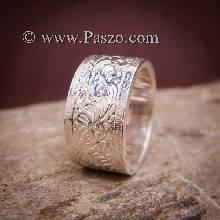 แหวนแกะลายรอบวง หน้ากว้าง10มิล แหวนเงินแท้ แหวนเกลี้ยง แกะลายไทย