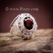 แหวนผู้ชายโกเมน แหวนผู้ชาย พลอยโกเมนแดงก่ำ ล้อมเพชร แหวนผู้ชายเงินแท้