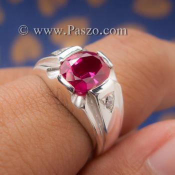 แหวนแห่งแสง แหวนทับทิม แหวนผู้ชายเงินแท้ #6