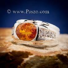 แหวนบุษราคัม แหวนผู้ชายเงินแท้ ฝังพลอยสีเหลือง บุษราคัม บ่าฝังเพชร แหวนเงิน แหวนผู้ชาย