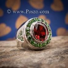 แหวนโกเมน แหวนผู้ชายเงินแท้ โกเมนแดงก่ำ พลอยเขียวมรกต แหวนผู้ชาย