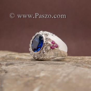 แหวนผู้ชายสีน้ำเงิน แหวนผู้ชายเงิน พลอยสีน้ำเงิน #2