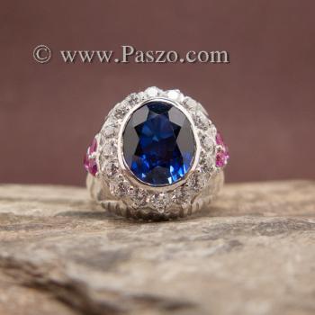 แหวนผู้ชายสีน้ำเงิน แหวนผู้ชายเงิน พลอยสีน้ำเงิน #3