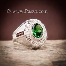 แหวนเงินผู้ชาย พลอยสีเขียวมรกต ล้อมเพชร ฝังพลอยสีแดง แหวนผู้ชาย