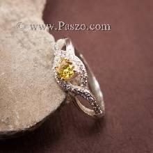 แหวนสีเหลือง แหวนบุษราคัม บ่าเพชร แหวนเงินแท้ แหวนรูปดวงดา