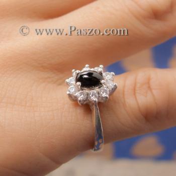 แหวนนิลล้อมเพชร แหวนเงินแท้ แหวนนิลวงเล็ก #4