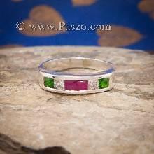 แหวนแถว ฝังทับทิม เขียวมรกต เพชร แหวนเงินแท้ 925