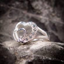 แหวนอความารีน แหวนเงิน แหวนหัวใจคู่ ฝังพลอยสีน้ำทะเล ราศีมีน