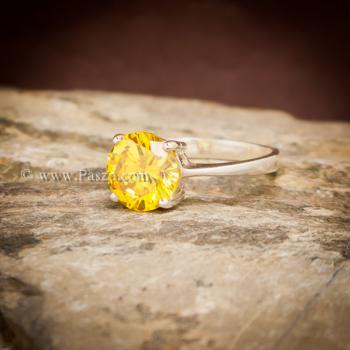 แหวนบุษราคัม แหวนพลอยสีเหลือง เม็ดเดี่ยว #2