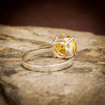 แหวนบุษราคัม แหวนพลอยสีเหลือง เม็ดเดี่ยว #5