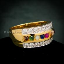 แหวนนพเก้าผู้ชาย แหวนพลอยนพเก้า แหวนผู้ชายทองแท้ พลอยนพเก้าแท้ เพชรสวิส ฝังล๊อก