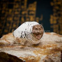 แหวนเสือ หน้าเสือหลวงพ่อเปิ่น แหวนเงินแท้ ลายค้อนช่างทอง แหวนผู้ชาย