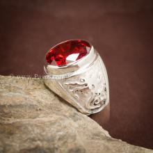 แหวนพลอยสีส้ม แหวนผู้ชาย พลอยโกเมน พลอยสีส้ม แหวนสัญลักษณ์มังกร