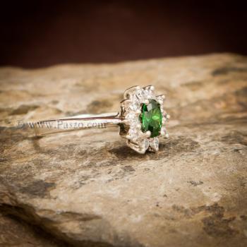 แหวนพลอยสีเขียว ล้อมเพชร พลอยมรกต #5