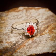 แหวนพลอยสีส้ม ล้อมเพชร พลอยโกเมน แหวนเงินแท้ 925