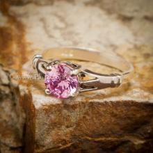 แหวนพลอยสีชมพู แหวนพลอยพิงค์โทพาส เม็ดเดี่ยว เม็ดกลม แหวนเงินแท้