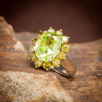 แหวนเพริดอต ล้อมพลอย บุษราคัม #2