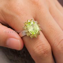 แหวนเพริดอต ล้อมพลอย บุษราคัม แหวนพลอยสีน้ำมะนาว แหวนเงินแท้ แหวนขนาดใหญ่