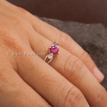 แหวนทับทิม แหวนพลอยสีแดง เม็ดกลม เม็ดเดี่ยว แหวนเงินแท้ แหวนขนาดกลาง