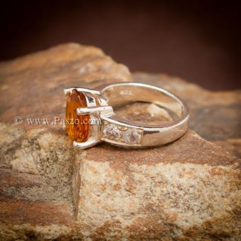 แหวนพลอยแม่โขง แหวนบุษราคัม บ่าแหวนฝังเพชร #3