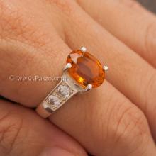 แหวนพลอยแม่โขง แหวนบุษราคัม บ่าแหวนฝังเพชร แหวนเงินแท้ พลอยสีเหลือง 4กะรัต