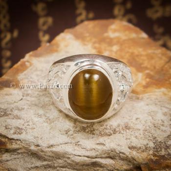 แหวนพลอยตาเสือ แหวนผู้ชาย แหวนเงินแท้ #5