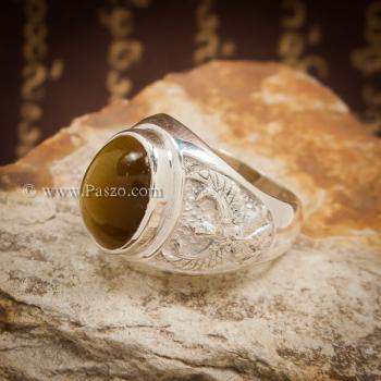 แหวนพลอยตาเสือ แหวนผู้ชาย แหวนเงินแท้ #4