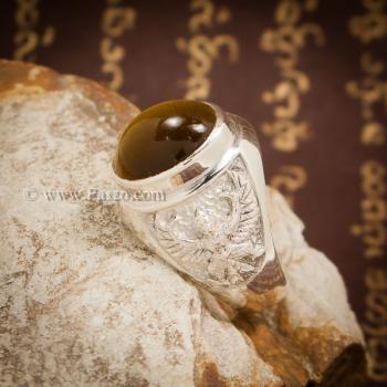 แหวนพลอยตาเสือ แหวนผู้ชาย แหวนเงินแท้ #2