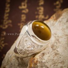 แหวนพลอยตาเสือ แหวนผู้ชาย แหวนเงินแท้ แหวนพญาครุฑ