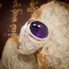 แหวนพลอยสีม่วง แหวนพลอยผู้ชาย อะเมทีส เจียรหลังเบี้ย แหวนครุฑ แหวนเงินแท้ แกะสลักลายพญาครุฑ แหวนผู้ชาย