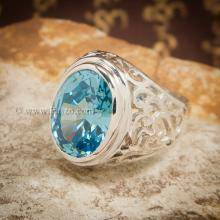 แหวนฉลุลาย แหวนพลอยสีฟ้า แหวนผู้ชายเงินแท้ แหวนฉลุลายไทย แหวนผู้ชาย