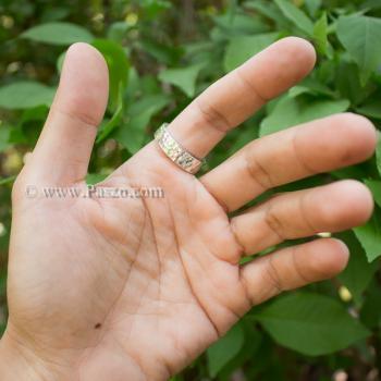 แหวนเงินเกลี้ยง กว้าง6มิล ตอกลายค้อน #5