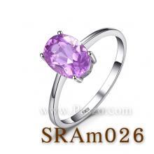 แหวนพลอยสีม่วง แหวนอะเมทิสต์ แหวนเงินแท้ พลอยสีม่วง แหวนสไตล์คลาสิก